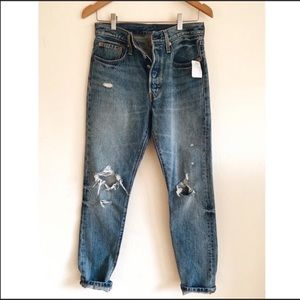 Levi's 501 skinny jeans in old hangouts!
